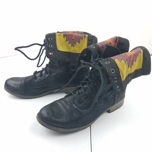 MOSSIMO Aztec Fold Over Black Combat Boots